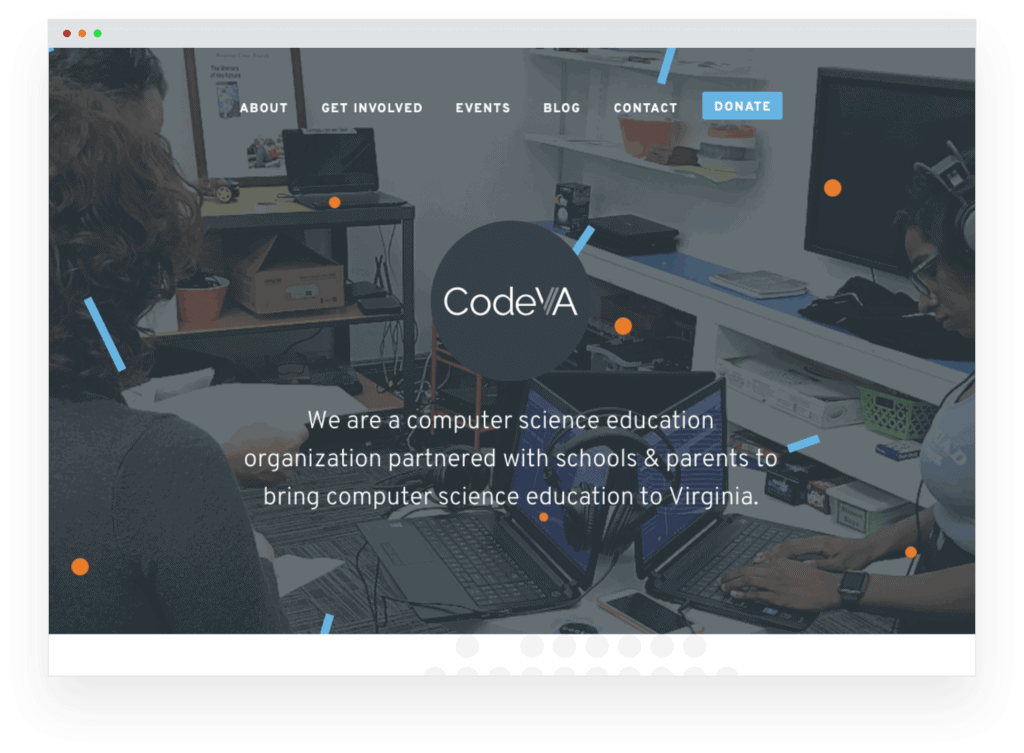 Screenshot of the new CodeVA website