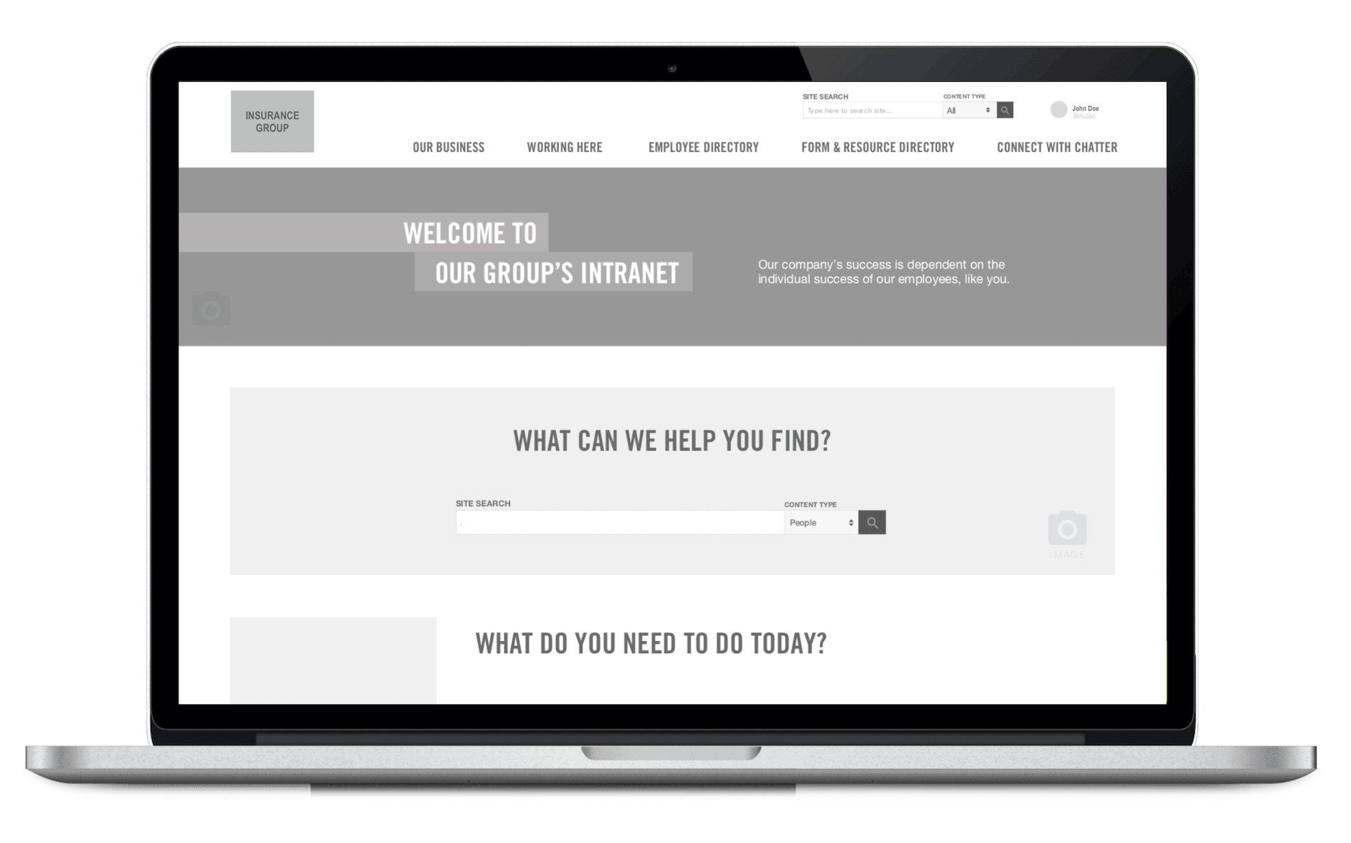The wireframes for the insurance company's Drupal website