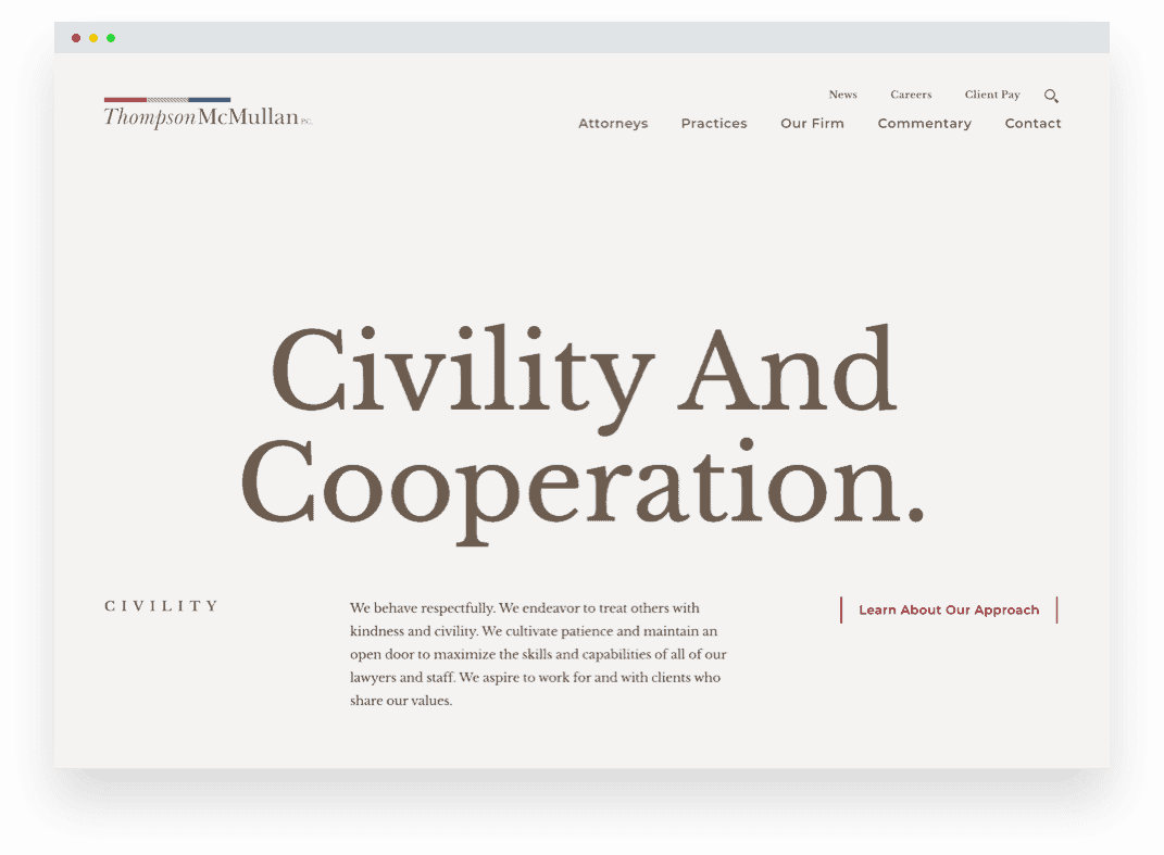 A screenshot of the new ThompsonMcMullin website