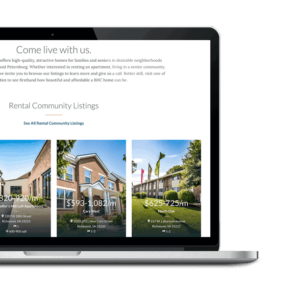 New better housing home page