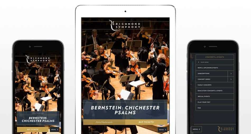 Richmond Symphony mobile mock up