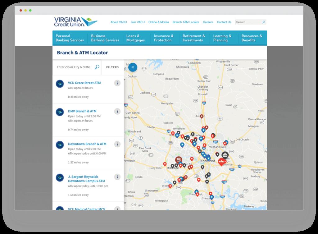 A screenshot of the new VACU locator map