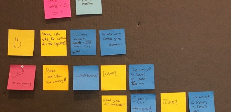 Post-it notes with notes from strategy meetings on them